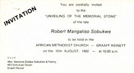Funeral memorial and unveiling of tombstone of rm sobukwe hpra atom funeral hymn sheet invitation to the unveiling of the memorial stone altavistaventures