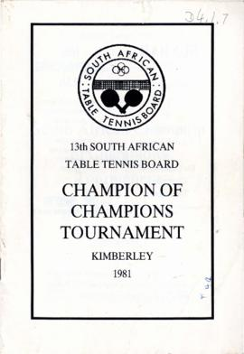 13th Champion of Champions Tournament, Kimberley, 1981